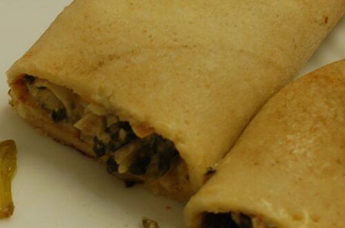 Pfannkuchen mit Spinat-Lachsfüllung