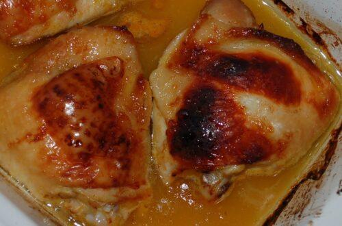 Hähnchenkeulen in Orangenmarinade aus dem Ofen